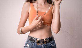 Hippy girl wearing beads