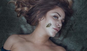 Girl with an insect on her face